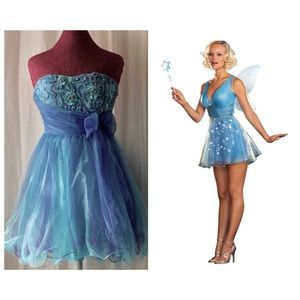 Strapless Blue Prom Dress